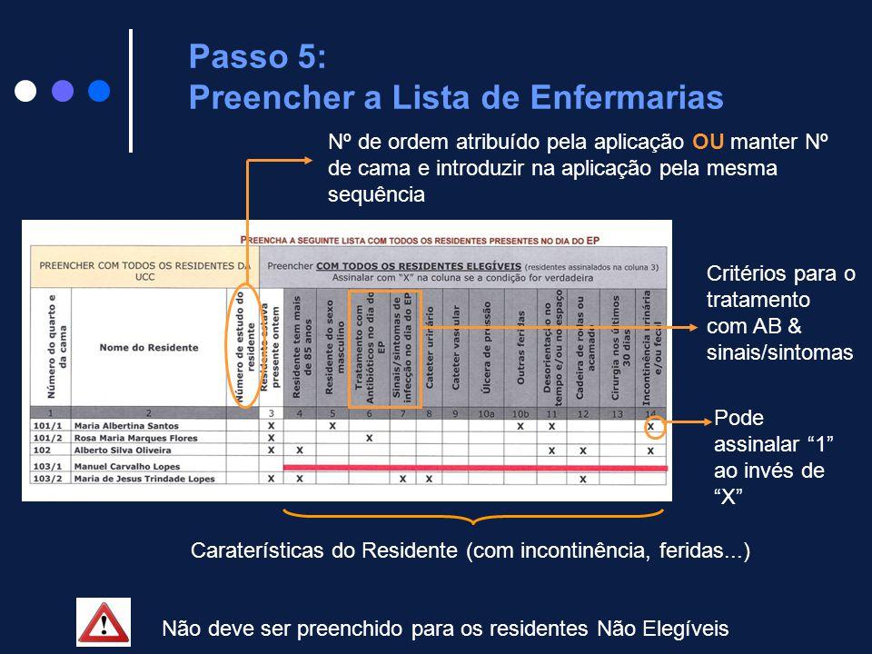 Passo 5: Preencher a Lista de Enfermarias Caraterísticas do Residente (com incontinência, feridas...) Critérios para o tratamento com AB & sinais/sint