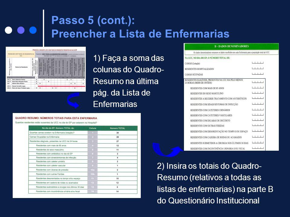 Passo 5 (cont.): Preencher a Lista de Enfermarias 1) Faça a soma das colunas do Quadro- Resumo na última pág. da Lista de Enfermarias 2) Insira os tot