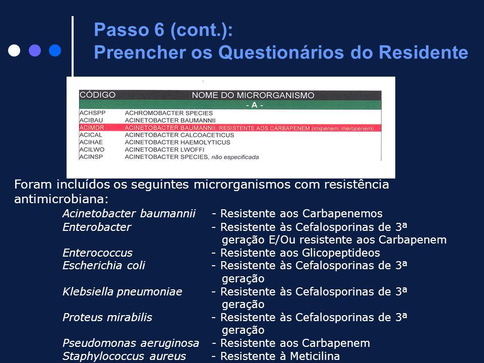 Foram incluídos os seguintes microrganismos com resistência antimicrobiana: Acinetobacter baumannii - Resistente aos Carbapenemos Enterobacter - Resis