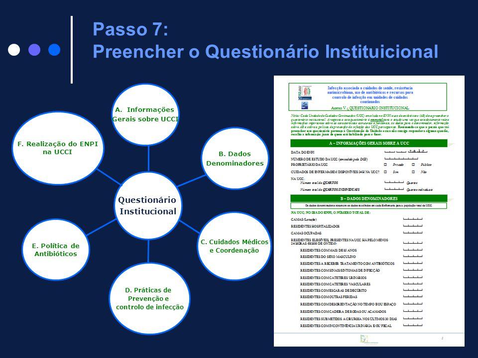 D. Práticas de Prevenção e controlo de infecção C. Cuidados Médicos e Coordenação B. Dados Denominadores A.Informações Gerais sobre UCCI Questionário