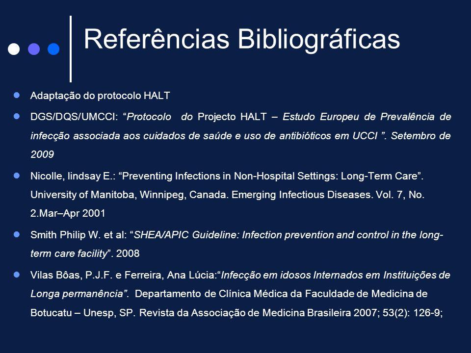 """Referências Bibliográficas Adaptação do protocolo HALT DGS/DQS/UMCCI: """"Protocolo do Projecto HALT – Estudo Europeu de Prevalência de infecção associad"""