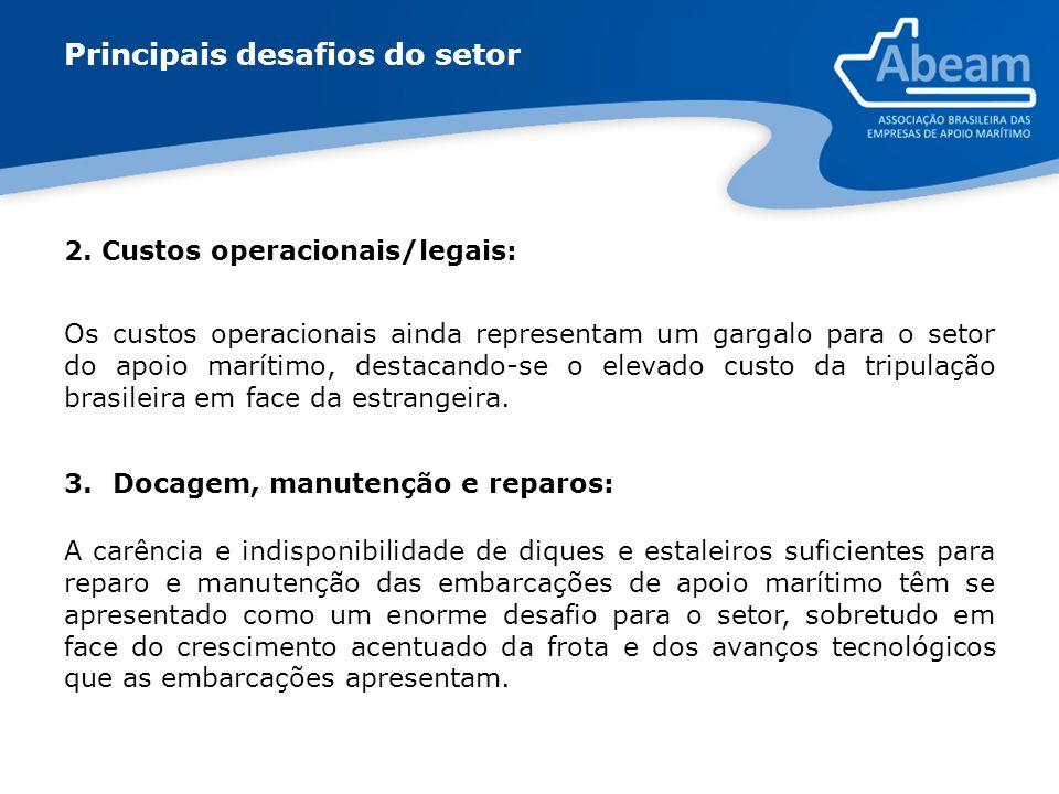 2. Custos operacionais/legais: Os custos operacionais ainda representam um gargalo para o setor do apoio marítimo, destacando-se o elevado custo da tr