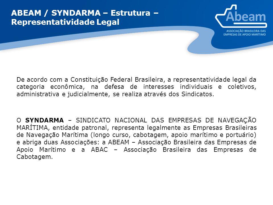 ABEAM / SYNDARMA – Estrutura – Representatividade Legal De acordo com a Constituição Federal Brasileira, a representatividade legal da categoria econô