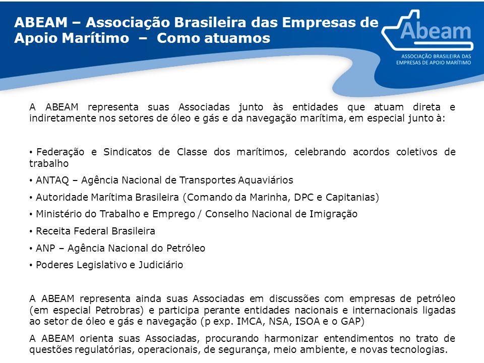 ABEAM – Associação Brasileira das Empresas de Apoio Marítimo – Como atuamos A ABEAM representa suas Associadas junto às entidades que atuam direta e i