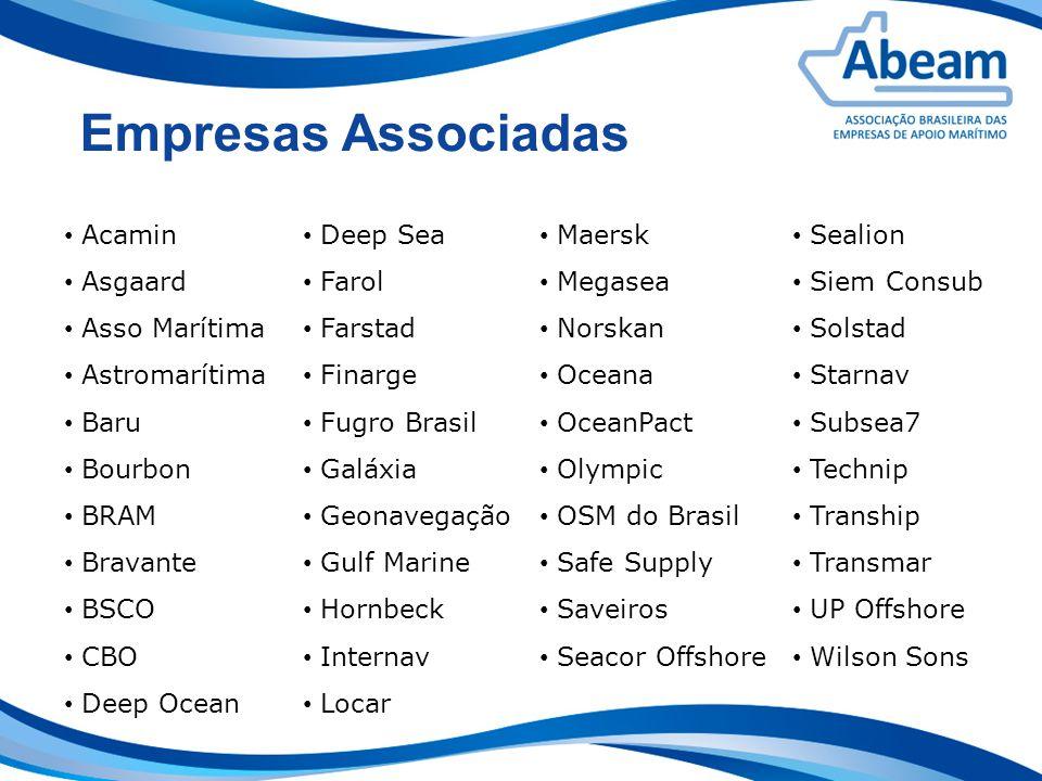Empresas Associadas Acamin Asgaard Asso Marítima Astromarítima Baru Bourbon BRAM Bravante BSCO CBO Deep Ocean Sealion Siem Consub Solstad Starnav Subs
