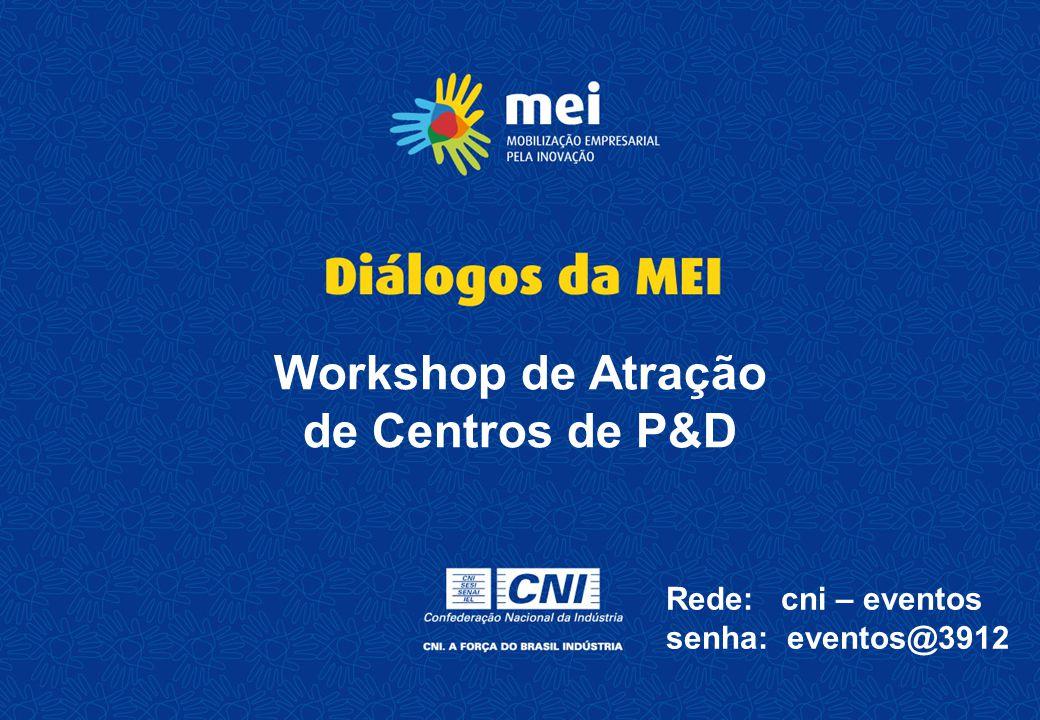 Workshop de Atração de Centros de P&D Rede: cni – eventos senha: eventos@3912