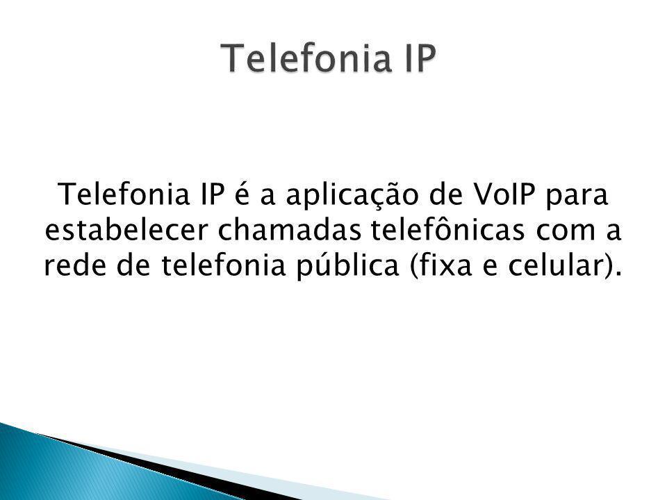 Telefonia IP é a aplicação de VoIP para estabelecer chamadas telefônicas com a rede de telefonia pública (fixa e celular).