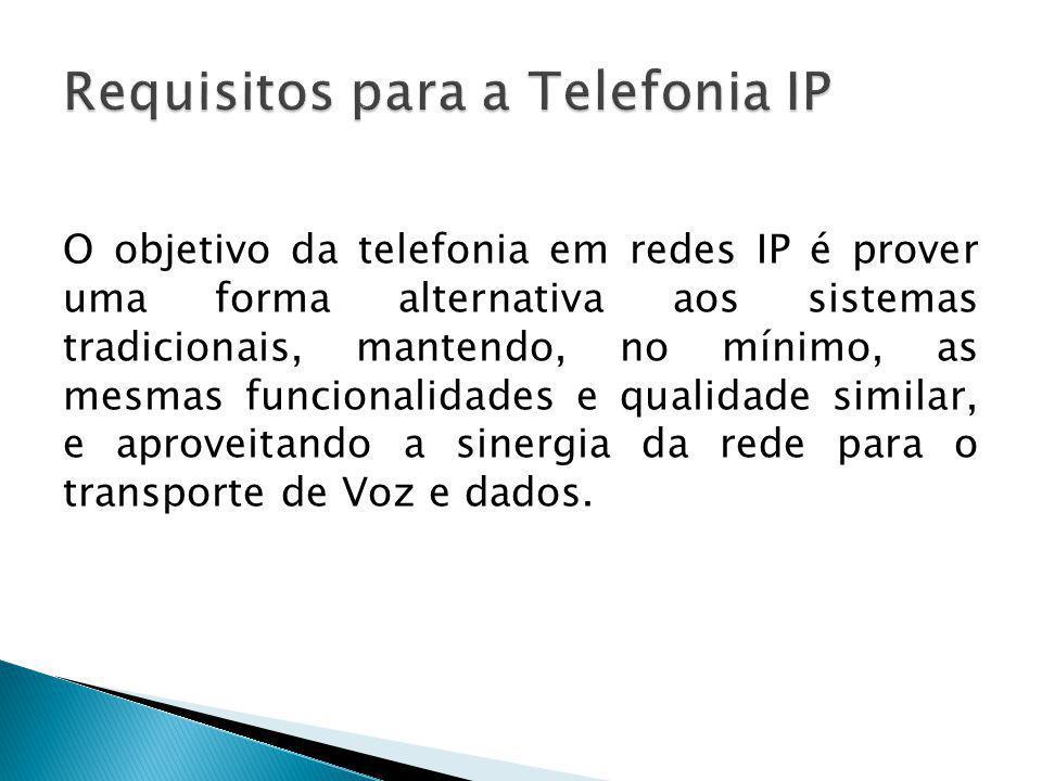 O objetivo da telefonia em redes IP é prover uma forma alternativa aos sistemas tradicionais, mantendo, no mínimo, as mesmas funcionalidades e qualida