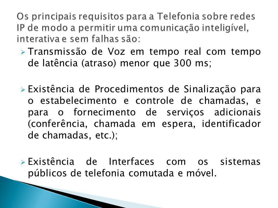  Transmissão de Voz em tempo real com tempo de latência (atraso) menor que 300 ms;  Existência de Procedimentos de Sinalização para o estabeleciment
