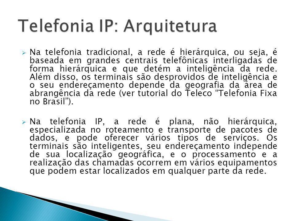  Na telefonia tradicional, a rede é hierárquica, ou seja, é baseada em grandes centrais telefônicas interligadas de forma hierárquica e que detém a i