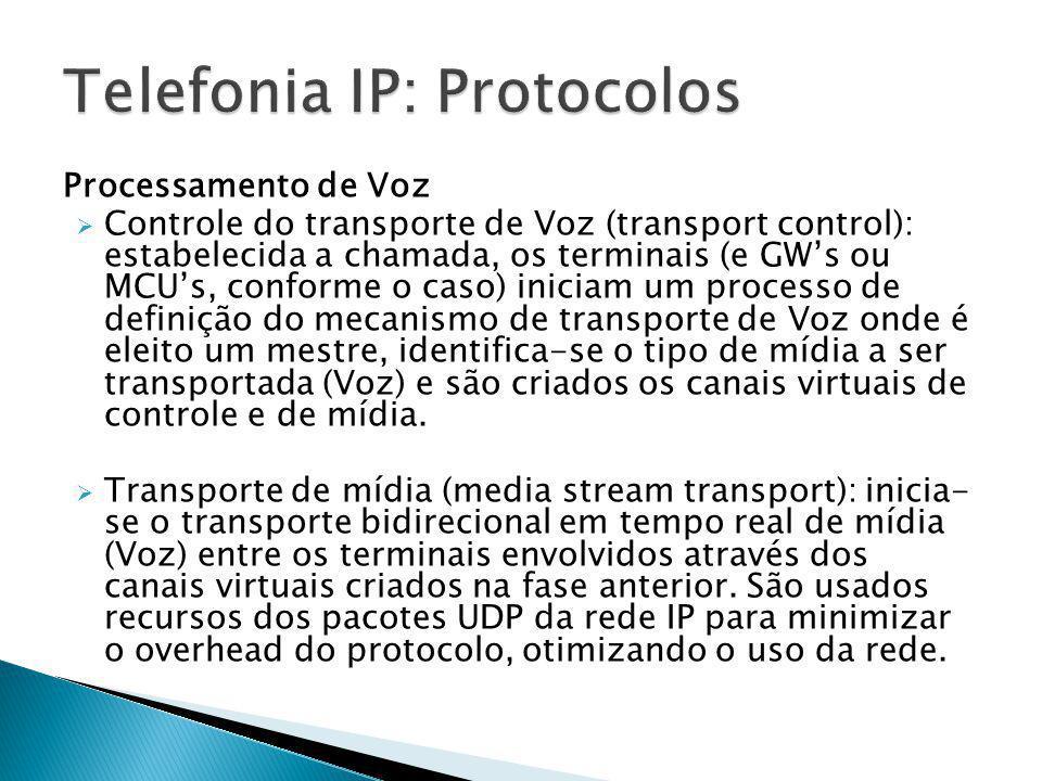 Processamento de Voz  Controle do transporte de Voz (transport control): estabelecida a chamada, os terminais (e GW's ou MCU's, conforme o caso) inic