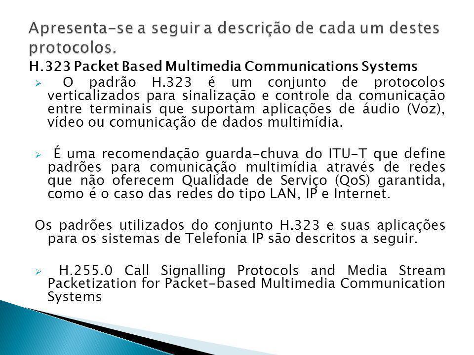 H.323 Packet Based Multimedia Communications Systems  O padrão H.323 é um conjunto de protocolos verticalizados para sinalização e controle da comuni