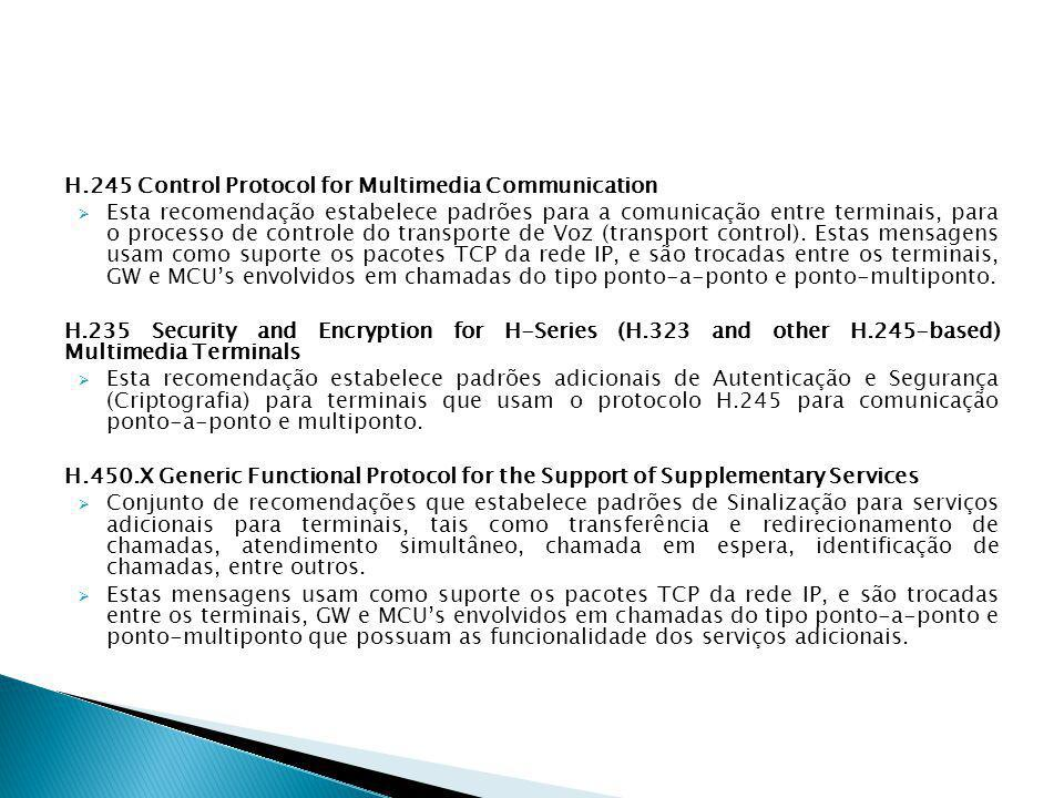 H.245 Control Protocol for Multimedia Communication  Esta recomendação estabelece padrões para a comunicação entre terminais, para o processo de cont