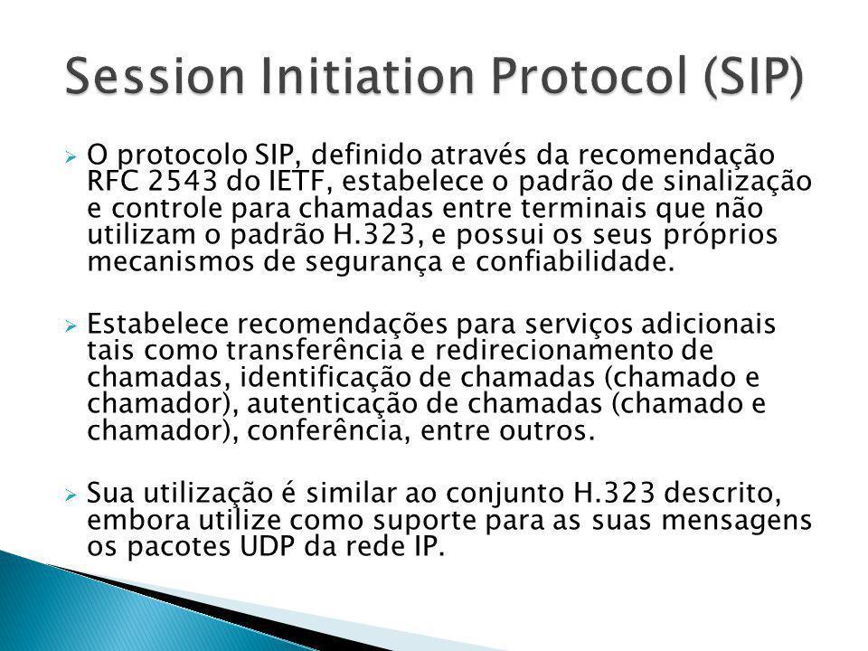  O protocolo SIP, definido através da recomendação RFC 2543 do IETF, estabelece o padrão de sinalização e controle para chamadas entre terminais que
