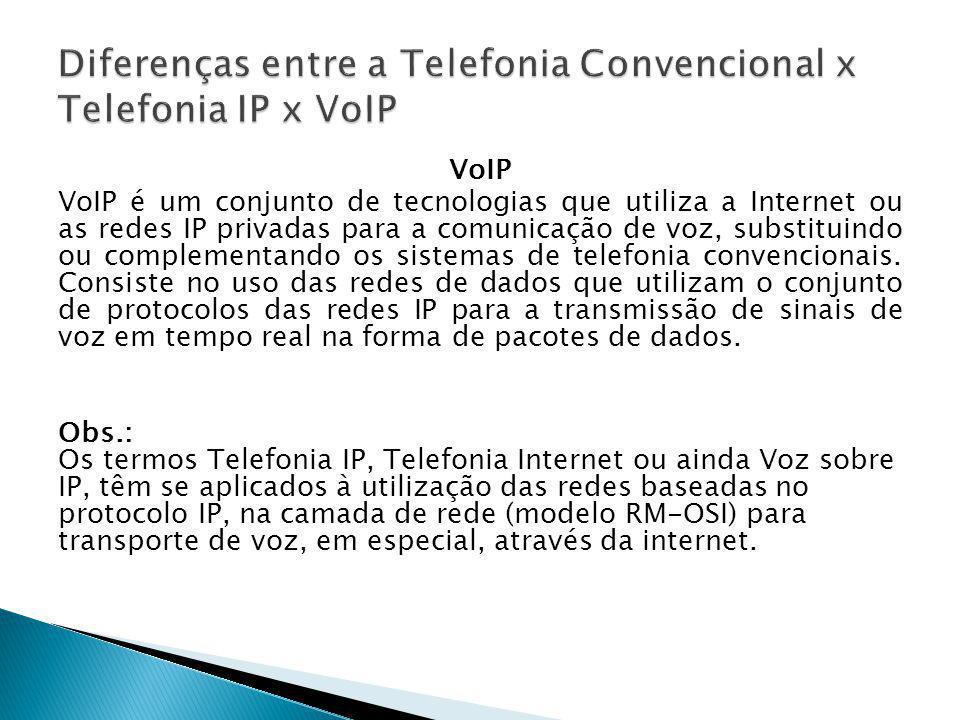 VoIP VoIP é um conjunto de tecnologias que utiliza a Internet ou as redes IP privadas para a comunicação de voz, substituindo ou complementando os sis