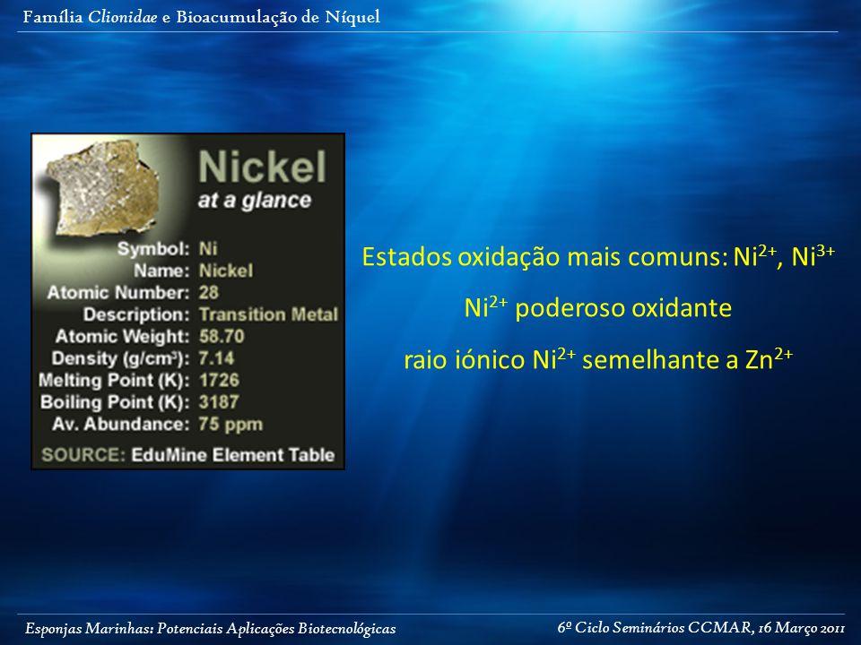 Esponjas Marinhas: Potenciais Aplicações Biotecnológicas Família Clionidae e Bioacumulação de Níquel Estados oxidação mais comuns: Ni 2+, Ni 3+ Ni 2+