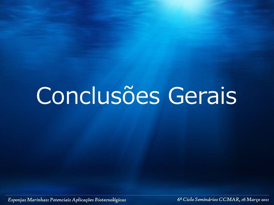 Esponjas Marinhas: Potenciais Aplicações Biotecnológicas Conclusões Gerais 6º Ciclo Seminários CCMAR, 16 Março 2011