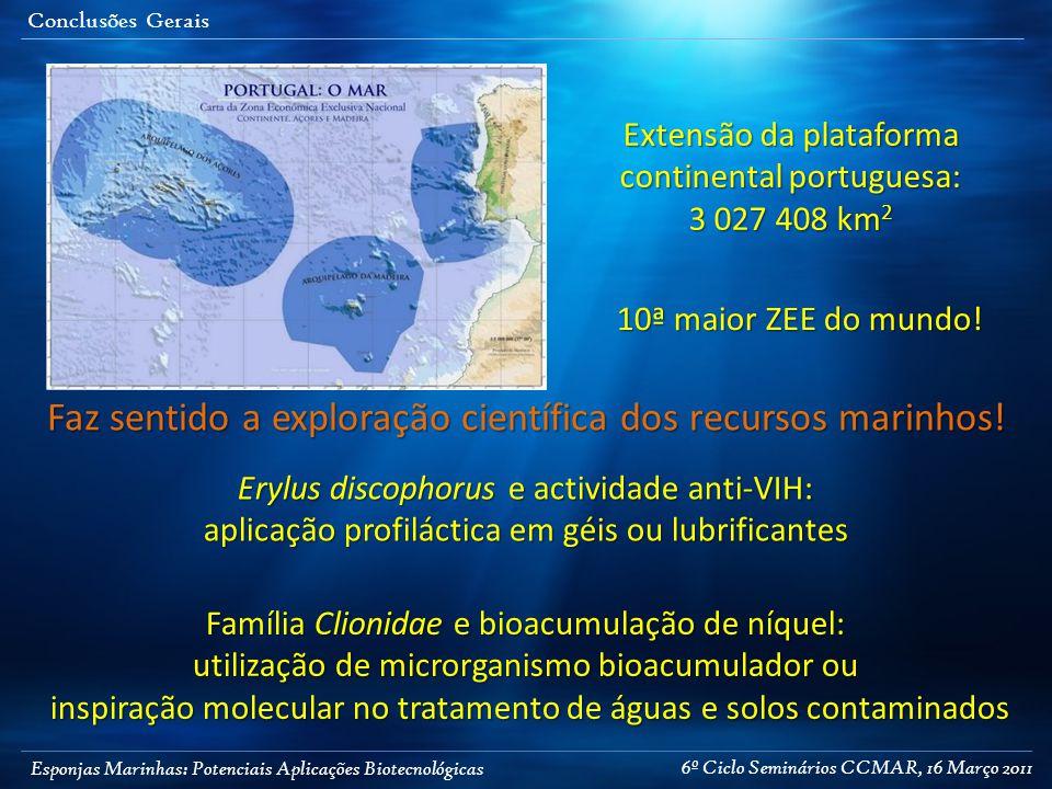 Esponjas Marinhas: Potenciais Aplicações Biotecnológicas Conclusões Gerais Extensão da plataforma continental portuguesa: 3 027 408 km 2 10ª maior ZEE