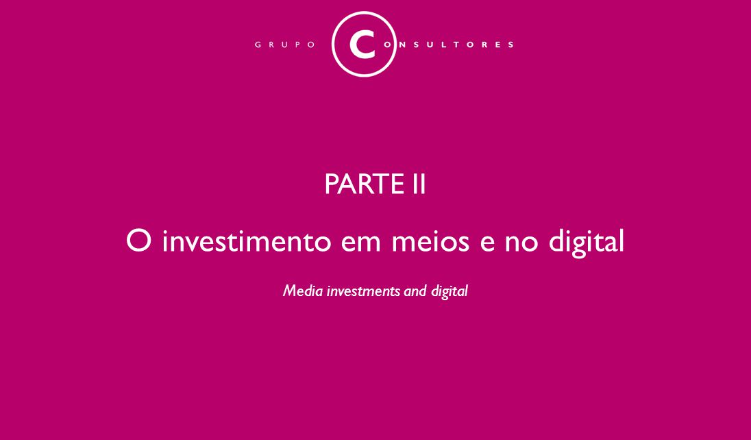 PARTE II O investimento em meios e no digital Media investments and digital