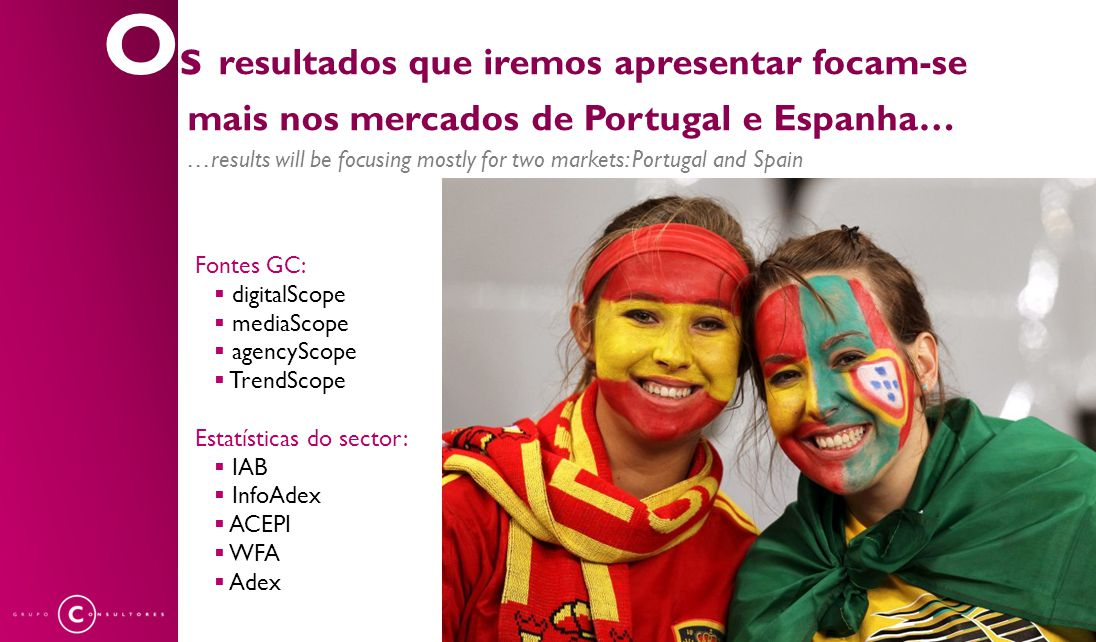 …results will be focusing mostly for two markets: Portugal and Spain O s resultados que iremos apresentar focam-se mais nos mercados de Portugal e Espanha… Fontes GC:  digitalScope  mediaScope  agencyScope  TrendScope Estatísticas do sector:  IAB  InfoAdex  ACEPI  WFA  Adex