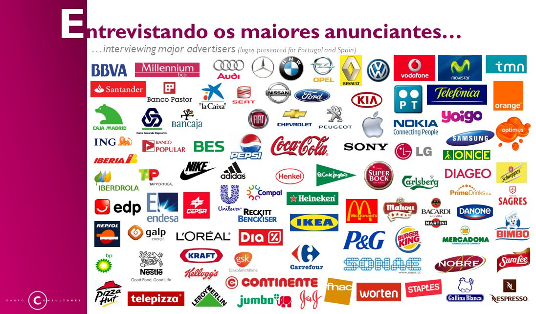 E ntrevistando os maiores anunciantes… …interviewing major advertisers (logos presented for Portugal and Spain)