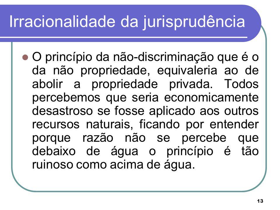 13 Irracionalidade da jurisprudência O princípio da não-discriminação que é o da não propriedade, equivaleria ao de abolir a propriedade privada. Todo