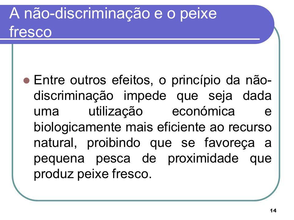 14 A não-discriminação e o peixe fresco Entre outros efeitos, o princípio da não- discriminação impede que seja dada uma utilização económica e biolog