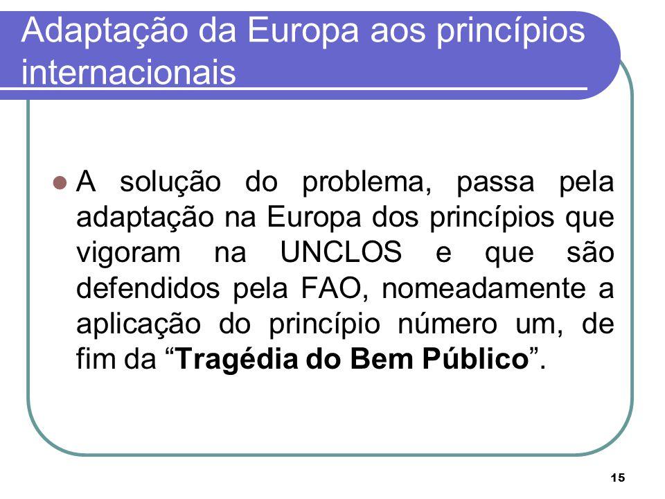 15 Adaptação da Europa aos princípios internacionais A solução do problema, passa pela adaptação na Europa dos princípios que vigoram na UNCLOS e que são defendidos pela FAO, nomeadamente a aplicação do princípio número um, de fim da Tragédia do Bem Público .