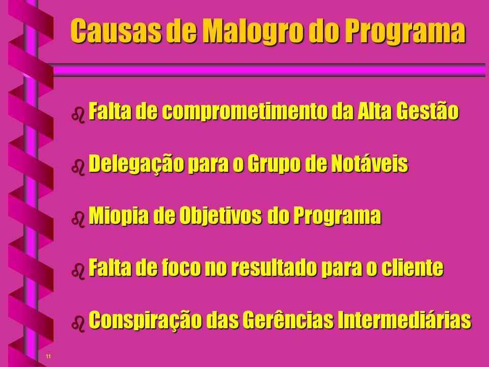 11 Causas de Malogro do Programa b Falta de comprometimento da Alta Gestão b Delegação para o Grupo de Notáveis b Miopia de Objetivos do Programa b Fa