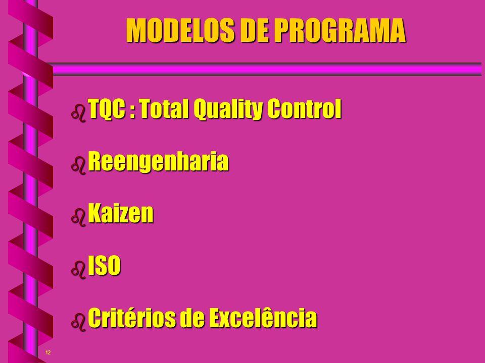 12 MODELOS DE PROGRAMA b TQC : Total Quality Control b Reengenharia b Kaizen b ISO b Critérios de Excelência