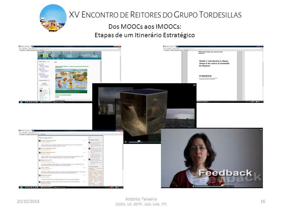 Dos MOOCs aos IMOOCs: Etapas de um Itinerário Estratégico 20/10/201416 António Teixeira (EDEN, UK; BSTPI, USA; UAb, PT)