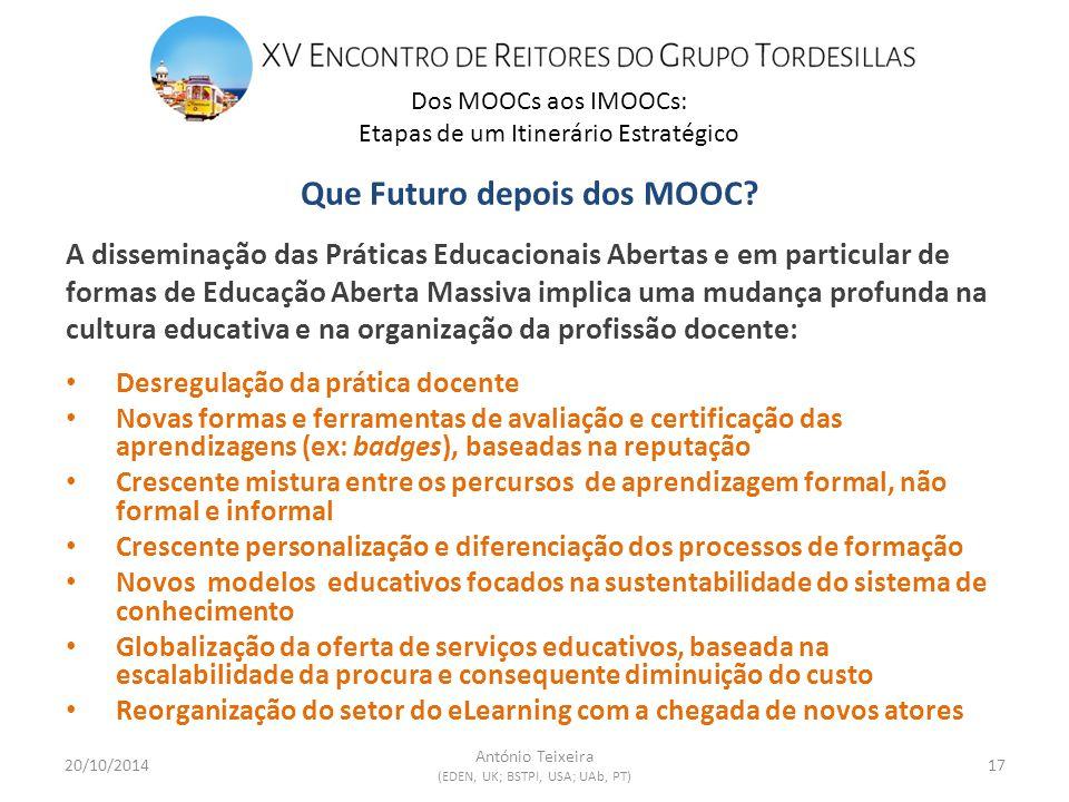 Dos MOOCs aos IMOOCs: Etapas de um Itinerário Estratégico 20/10/201417 António Teixeira (EDEN, UK; BSTPI, USA; UAb, PT) Que Futuro depois dos MOOC.