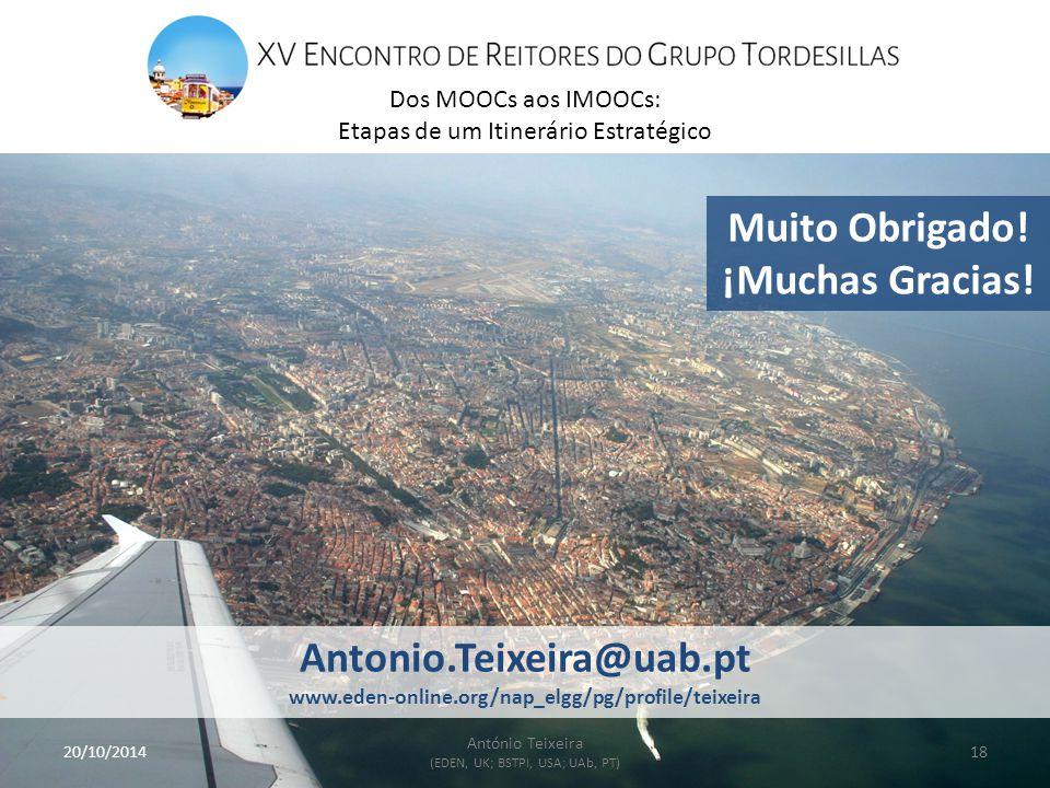 20/10/201418 António Teixeira (EDEN, UK; BSTPI, USA; UAb, PT) Muito Obrigado.