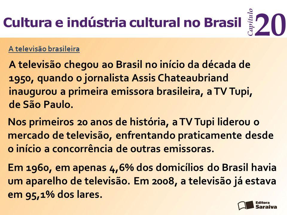 Cultura e indústria cultural no Brasil Capítulo 20 A televisão brasileira A televisão chegou ao Brasil no início da década de 1950, quando o jornalist