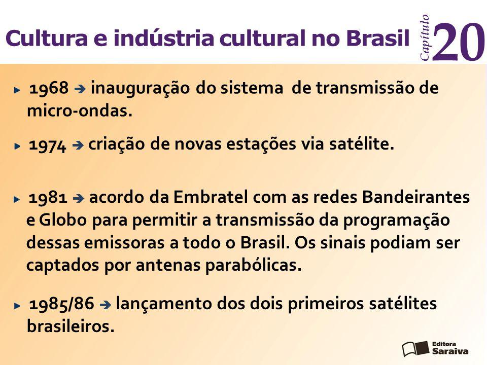 Cultura e indústria cultural no Brasil Capítulo 20 1981  acordo da Embratel com as redes Bandeirantes e Globo para permitir a transmissão da programa