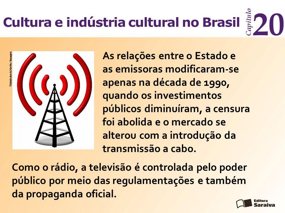 Cultura e indústria cultural no Brasil Capítulo 20 Como o rádio, a televisão é controlada pelo poder público por meio das regulamentações e também da