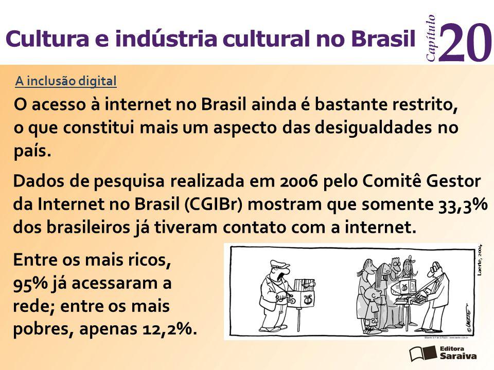 Cultura e indústria cultural no Brasil Capítulo 20 A inclusão digital O acesso à internet no Brasil ainda é bastante restrito, o que constitui mais um