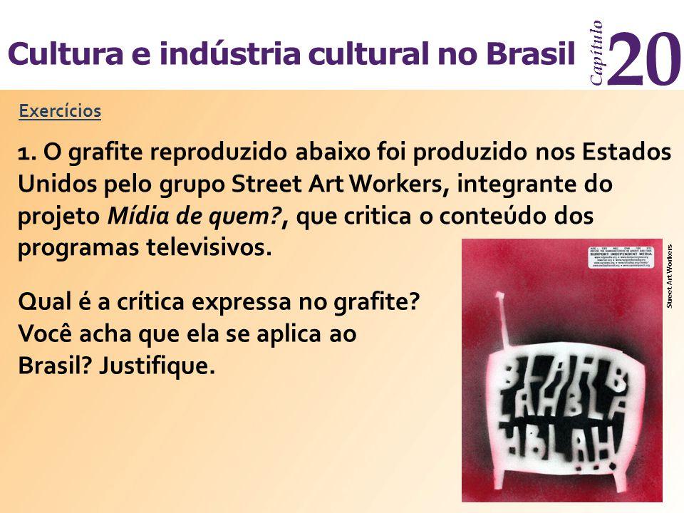 Cultura e indústria cultural no Brasil Capítulo 20 Exercícios 1. O grafite reproduzido abaixo foi produzido nos Estados Unidos pelo grupo Street Art W