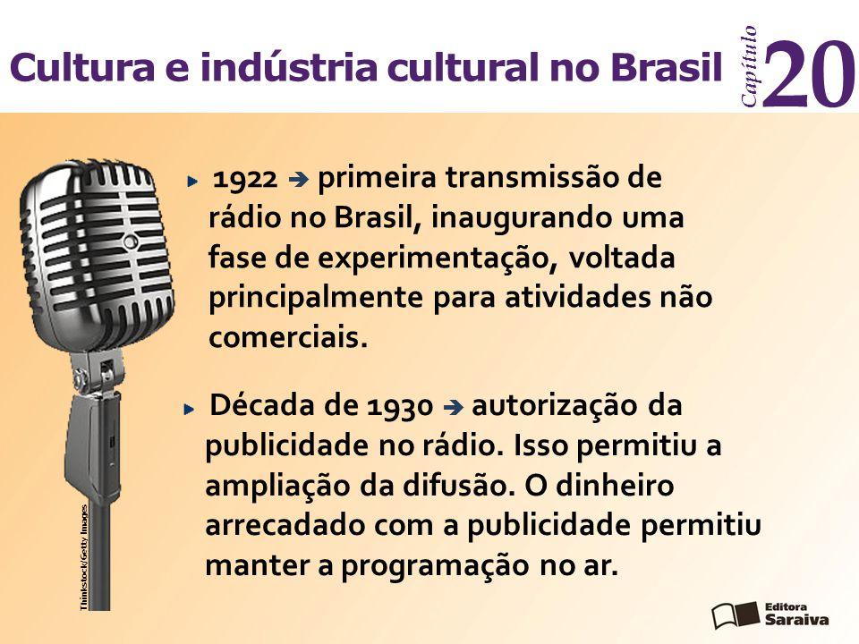 Cultura e indústria cultural no Brasil Capítulo 20 Década de 1930  autorização da publicidade no rádio. Isso permitiu a ampliação da difusão. O dinhe