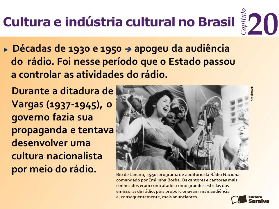 Cultura e indústria cultural no Brasil Capítulo 20 Arquivo/AE Décadas de 1930 e 1950  apogeu da audiência do rádio. Foi nesse período que o Estado pa