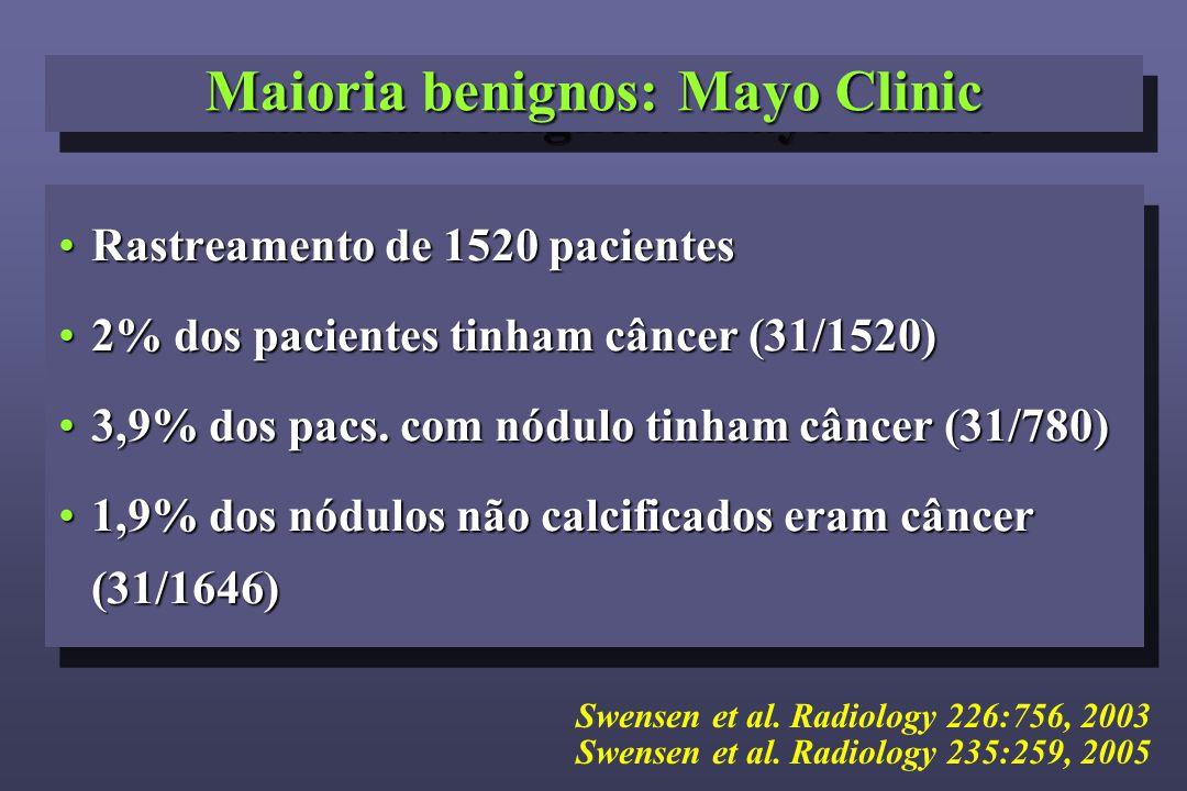 Maioria benignos: Mayo Clinic Rastreamento de 1520 pacientesRastreamento de 1520 pacientes 2% dos pacientes tinham câncer (31/1520)2% dos pacientes ti