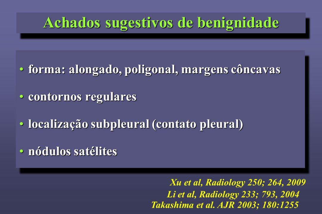 Achados sugestivos de benignidade forma: alongado, poligonal, margens côncavasforma: alongado, poligonal, margens côncavas contornos regularescontorno