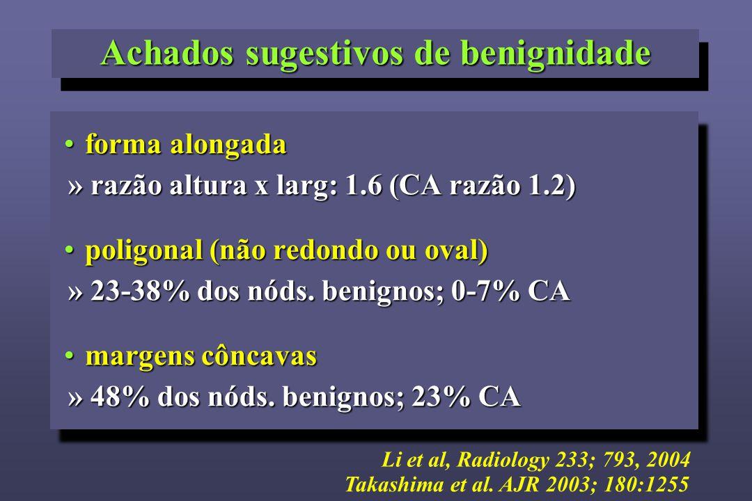 forma alongadaforma alongada » razão altura x larg: 1.6 (CA razão 1.2) poligonal (não redondo ou oval)poligonal (não redondo ou oval) » 23-38% dos nód
