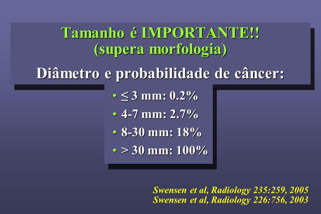 Tamanho é IMPORTANTE!! (supera morfologia) Diâmetro e probabilidade de câncer: Tamanho é IMPORTANTE!! (supera morfologia).… Diâmetro e probabilidade d