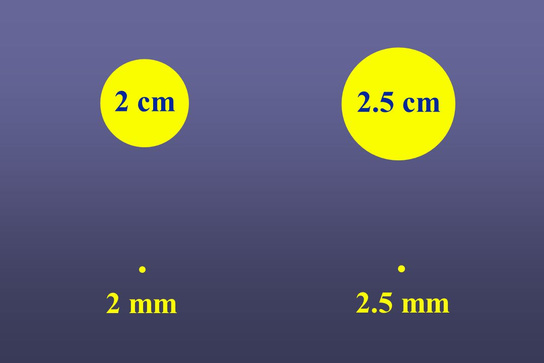 2 cm 2.5 cm 2 mm 2.5 mm