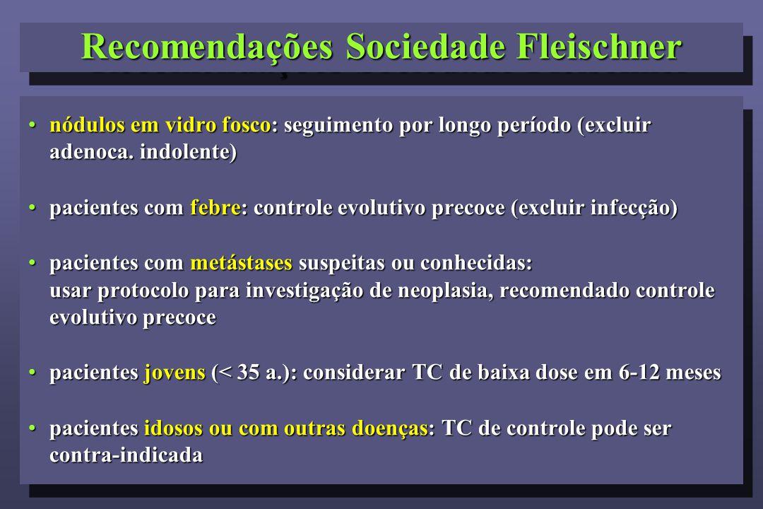 Recomendações Sociedade Fleischner nódulos em vidro fosco: seguimento por longo período (excluir adenoca. indolente)nódulos em vidro fosco: seguimento
