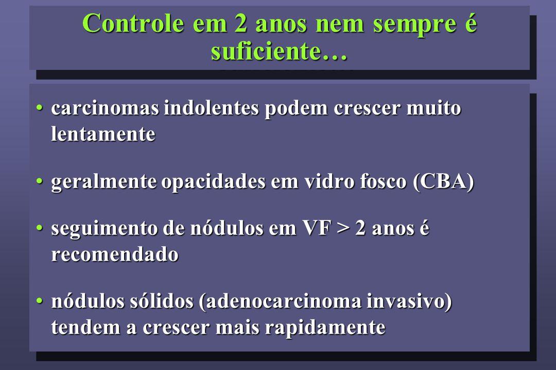 Controle em 2 anos nem sempre é suficiente… carcinomas indolentes podem crescer muito lentamentecarcinomas indolentes podem crescer muito lentamente geralmente opacidades em vidro fosco (CBA)geralmente opacidades em vidro fosco (CBA) seguimento de nódulos em VF > 2 anos é recomendadoseguimento de nódulos em VF > 2 anos é recomendado nódulos sólidos (adenocarcinoma invasivo) tendem a crescer mais rapidamentenódulos sólidos (adenocarcinoma invasivo) tendem a crescer mais rapidamente carcinomas indolentes podem crescer muito lentamentecarcinomas indolentes podem crescer muito lentamente geralmente opacidades em vidro fosco (CBA)geralmente opacidades em vidro fosco (CBA) seguimento de nódulos em VF > 2 anos é recomendadoseguimento de nódulos em VF > 2 anos é recomendado nódulos sólidos (adenocarcinoma invasivo) tendem a crescer mais rapidamentenódulos sólidos (adenocarcinoma invasivo) tendem a crescer mais rapidamente