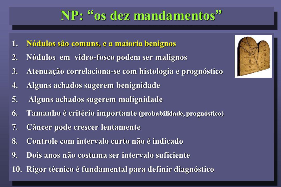 """NP: """"os dez mandamentos"""" 1. Nódulos são comuns, e a maioria benignos 2. Nódulos em vidro-fosco podem ser malignos 3.Atenuação correlaciona-se com hist"""
