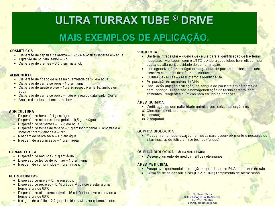 ULTRA TURRAX TUBE ® DRIVE MAIS EXEMPLOS DE APLICAÇÃO.