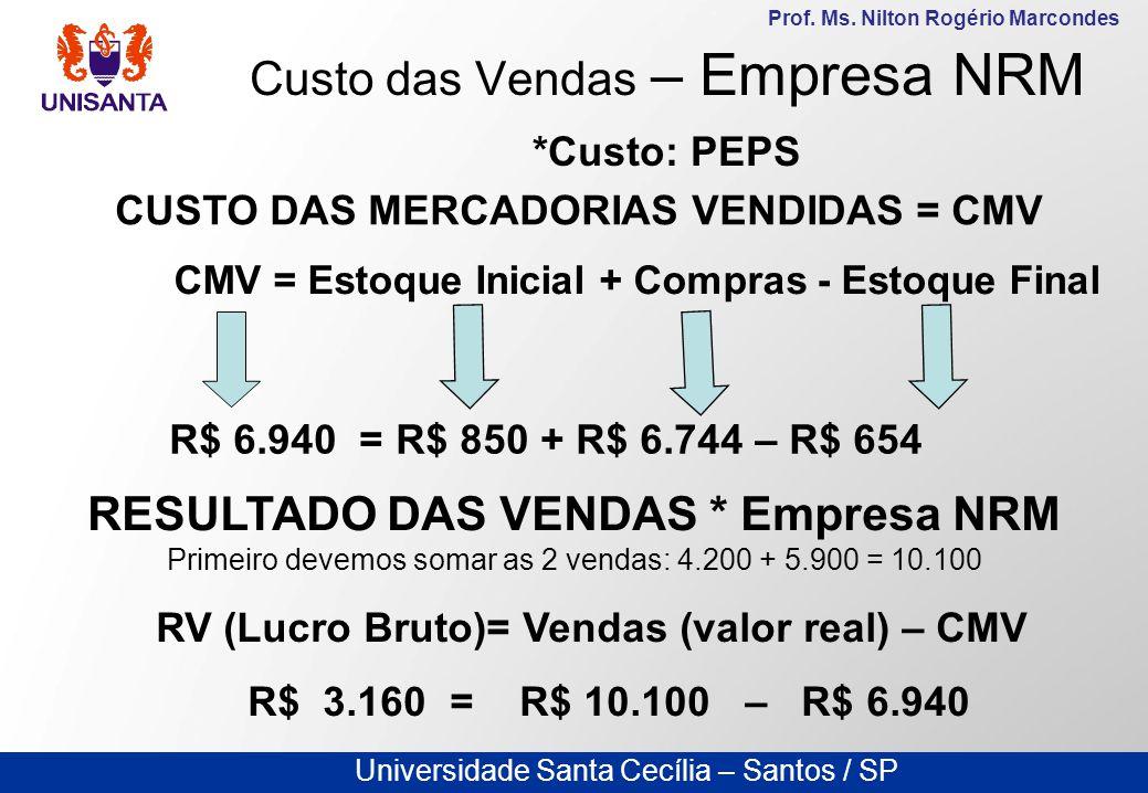 Universidade Santa Cecília – Santos / SP Prof. Ms. Nilton Rogério Marcondes Custo das Vendas – Empresa NRM *Custo: PEPS CUSTO DAS MERCADORIAS VENDIDAS